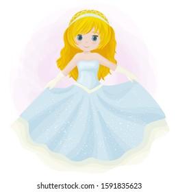 Little cute princess. Vector illustration