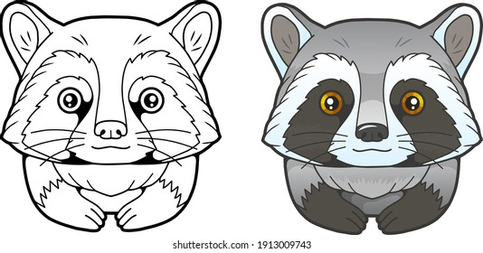 little cute raccoon, coloring book, funny illustration