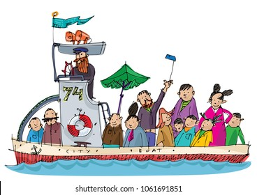 A little cute sightseeing motor boat full of tourists. Cartoon. Caricature.