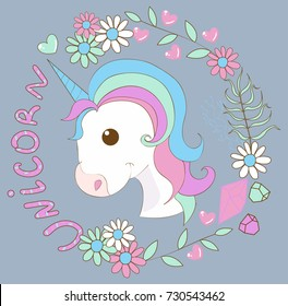 A little cute unicorn in a bouquet of wildflowers, chamomiles, tears, petals, with inscription and hearts. Head. Vector image. Pink, crimson, purple, turquoise, blue, gray flowers.