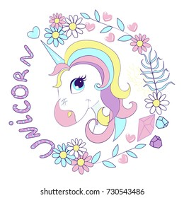 A little cute unicorn in a bouquet of wildflowers, chamomiles, tears, petals, with inscription and hearts. Head. Vector image. Pink, crimson, purple, turquoise, blue, yellow flowers.