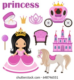 Little cute vector Princess, castle and carriage