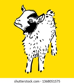Little cute white goat, cartoon vector illustration