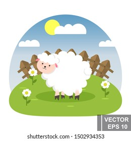 Little, cute white sheep. Vector set. Good night. for your design.