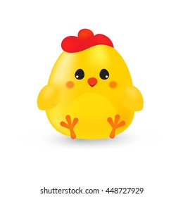 Little cute yellow cartoon chick isolated on a white background
