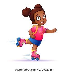 Little dark-skinned girl on roller skates. Teen rides on roller skates and enjoy the speed and freedom. girl in dress on roller skates. isolated vector illustration