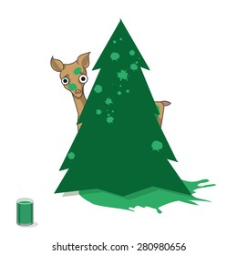 Little deer hiding behind fir tree covered with green paint splash. Cute character isolated on a white background. Vector illustration. Can be used for color presentation or as a sticker.