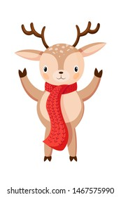 Little Deer isolated on white. Reindeer greeting you. Smiling cartoon character in flat style design. Deer wishes Merry Christmas and happy new year. Cute deer posing. Vector illustration