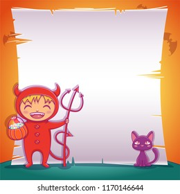 Little devil with black kitten. Happy Halloween party. Editable template with text space.