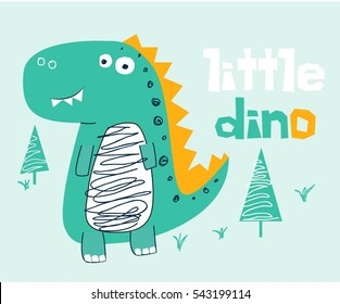 little dino vector illustration.T-shirt graphics for kids vector illustration