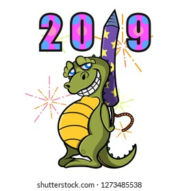 Little Dinosaur hiding a firecrackers behind his body forms the number 2019 at the fireworks festival cartoon vector