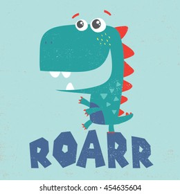 little dinosaur illustration with typo for baby tee print