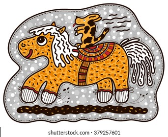 Little dog rides on the big yellow horse. Animals are happy and excited.