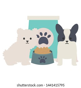 little dogs adorables with food bag and dish