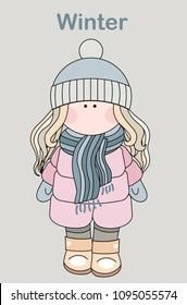 Little doll in winter vectot illustration