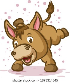 The little donkey is dancing with the happy face and the sparkling around him of illustration