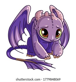 Little dragon. Funny cartoon little violet sitting dragon. Vector illustration in cartoon style. Isolated on a white background.