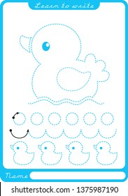 little duck. Preschool worksheet for practicing fine motor skills - tracing dashed lines. Tracing Worksheet.  Illustration and vector outline - A4 paper ready to print.