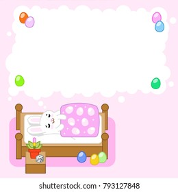 Little easter bunny sleeping and dreaming of eggs in blank think bubble for own text (vector template)