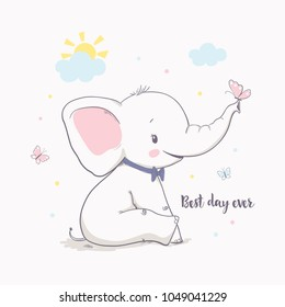 Little elephant with butterfly. Vector illustration for kids. Use for t shirt template, surface design, fashion wear, baby shower
