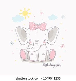 Little elephant girl. Vector illustration for kids. Use for t shirt template, surface design, fashion wear, baby shower
