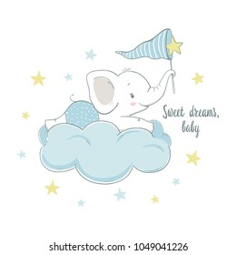Little elephant on the cloud. Cartoon vector illustration for kids. Use for t shirt template, surface design, fashion wear, baby shower