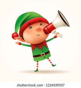 Little elf with megaphone. Isolated.