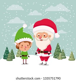 little elf and santa claus characters in snowscape