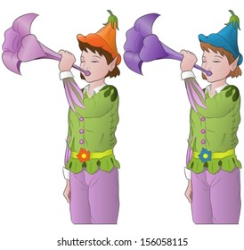 little elves playing the trumpet. Vector illustration.