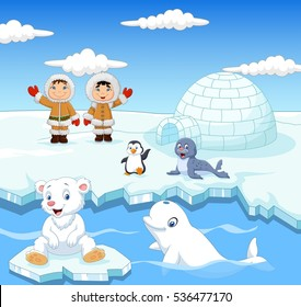 Little Eskimo kids with arctic animals and igloo house background