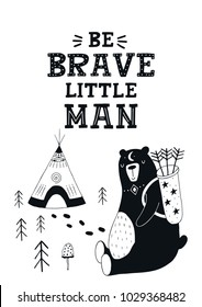 Little Explorer - Cute hand drawn nursery poster with big bear and lettering in scandinavian style. Kids vector illustration.