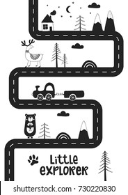 Little explorer - Cute hand drawn nursery poster with road, wild animals and car. Unique card in black and white scandinavian style. Monochrome vector illustration.
