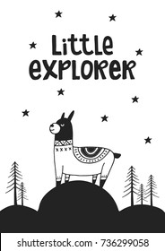 Little explorer - Cute hand drawn nursery poster with handdrawn lettering in scandinavian style. Vector illustration.