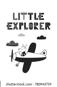 Little explorer - unique hand drawn nursery poster with hand drawn lettering in scandinavian style. Vector illustration.