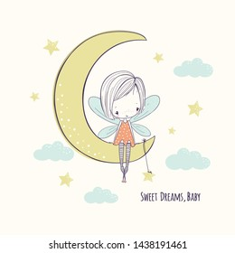 Little fairy girl on the moon. Childish doodle sketch vector illustration. Use for girlish surface designs, fabric print, card, fashion kids wear, textile, baby shower, wall art