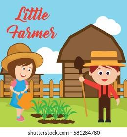 Little farmer illustration