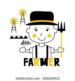 little farmer/profession funny cartoon,vector illustration