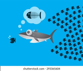 Little Fish Eat Big Fish. Unity, Teamwork, Organize Concept. Fishes unite fight with big fish. vector illustration. sharks