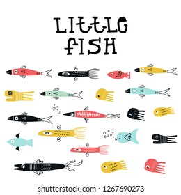 Little fish - Summer kids poster with a set of fish cut out of paper and hand dtawn lettering. Vector illustration.