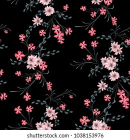 Little Floral Seamless Pattern with Cute Daisy Flowers and Pansies. Girlie Texture in Country Style for Fabric, Print, Textile. Vector Spring Rapport.