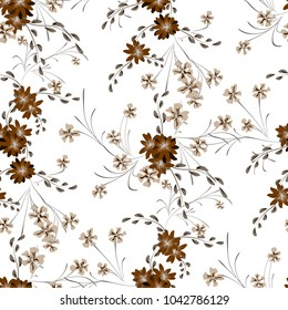 Little Floral Seamless Pattern with Cute Daisy Flowers and Pansies. Feminine Texture in Liberty Style for Curtains, Calico, Textile. Vector Spring Rapport.