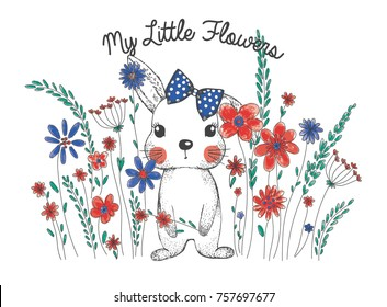 little flowers and cute rabbit