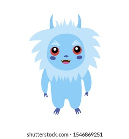 Сute little fluffy monster, isolated white bacground. Fancy beast background. Vector illustration funny Yeti. Abominable Snowman. Bigfoot, Sasquatch bigfoot.