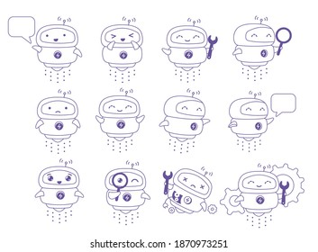 Little flying Robot mascot character set. Support service-center. Chat bot. For all tasks. Thin contour line style. Cartoon vector.