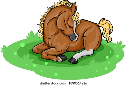 A little foal is sleeping in the meadow. Illustration