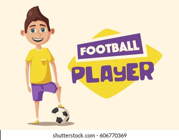 Little football player. Cartoon vector illustration