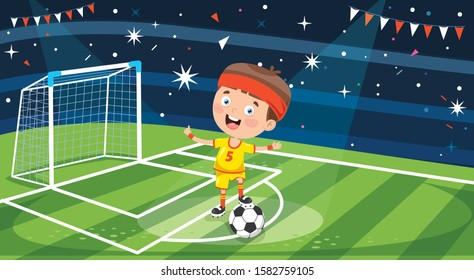 Little Football Player Posing With Ball