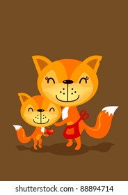 a little fox send its mother an apple as a gift for mother's day.