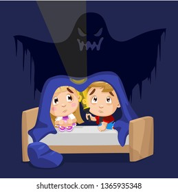 Little frightened boy and girl sitting on bed under blanket with flashlight in night. Children are afraid of imaginary ghost in bedroom. Kid`s fears concept. Cartoon stock vector illustration.