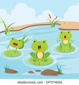 Little frogs in the pond. Cute little frogs having fun in the pond.